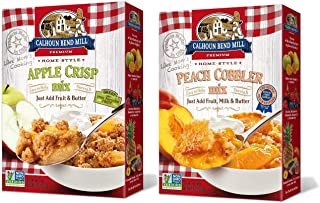 Calhoun Bend Mill Variety 2 Pack Bundle Mixes – 1 Apple Crisp Mix, 8oz, and 1 Peach Cobbler Mix, 8oz