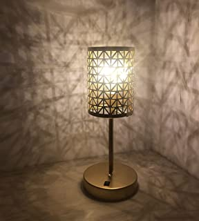AFORTLO Battery Powered Operated Table Desk Lamp, Hollow-Carved Cordless Romantic Night Light, Metal Cage Home Decor Atmos...
