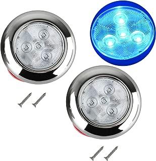 """12V DC 3/"""" Blue 4 LED Polished Stainless Steel Housing Round LED Courtesy Light"""