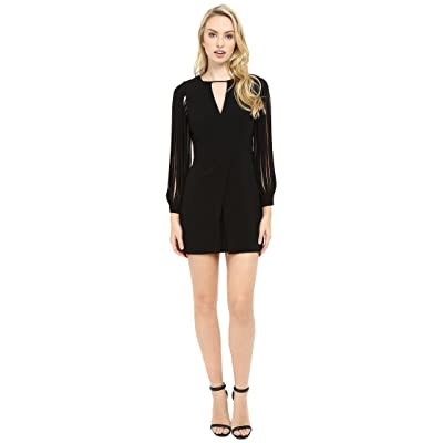 Halston Heritage Multistrap Long Sleeve Crepe Dress (Black) Women