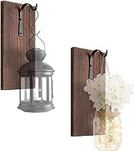 Dahey Rustic Wall Hooks with Wood Board, Set of 2 Wrought Iron Hooks Metal Decorative Hangers for Hanging Mason Jars Lantern Planter Tin Pot Sconce Wall Decor