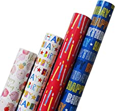 Pack of 4 x 3M Happy Birthday Gift Wrapping Paper roll