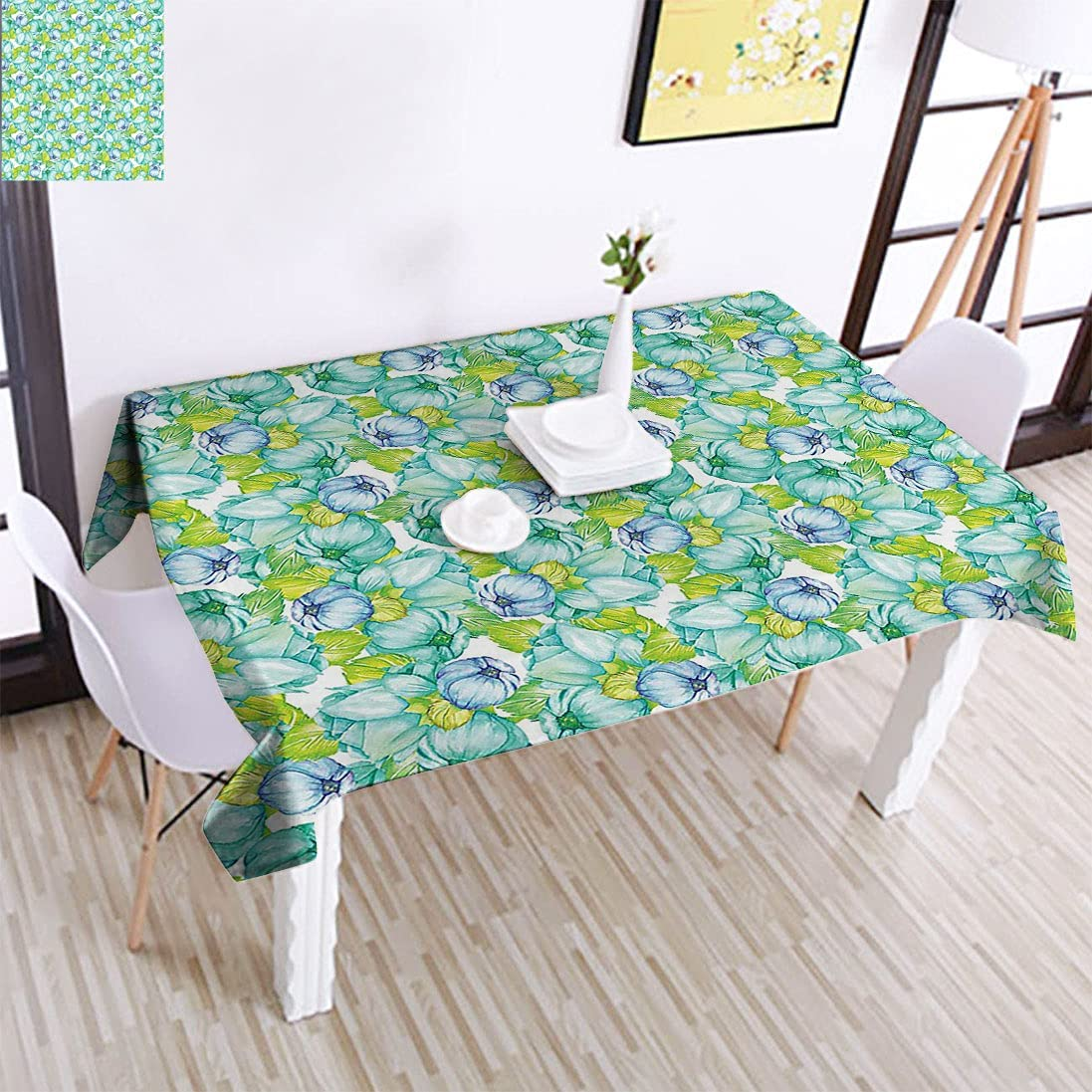 Turquoise In stock Max 46% OFF Decor Polyester Tablecloth, Flowers Blooming Figures