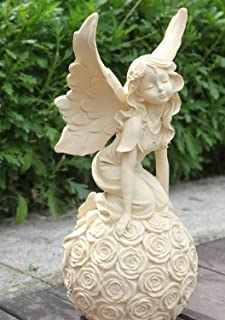 OwMell Garden Fairy Statue with Butterfly Wings Kneeling on The Rose Ball, 13 Inch, Ancient Ivory Resin, Garden Statue Figurine Indoor Outdoor Home Decoration Sculpture