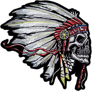 Indian Headdress Skull Patch OriginalStickers0392 Set of Two (2X) Stickers, Laptop, Ipad, Car, Truck, Size 4 inches on Longer Side