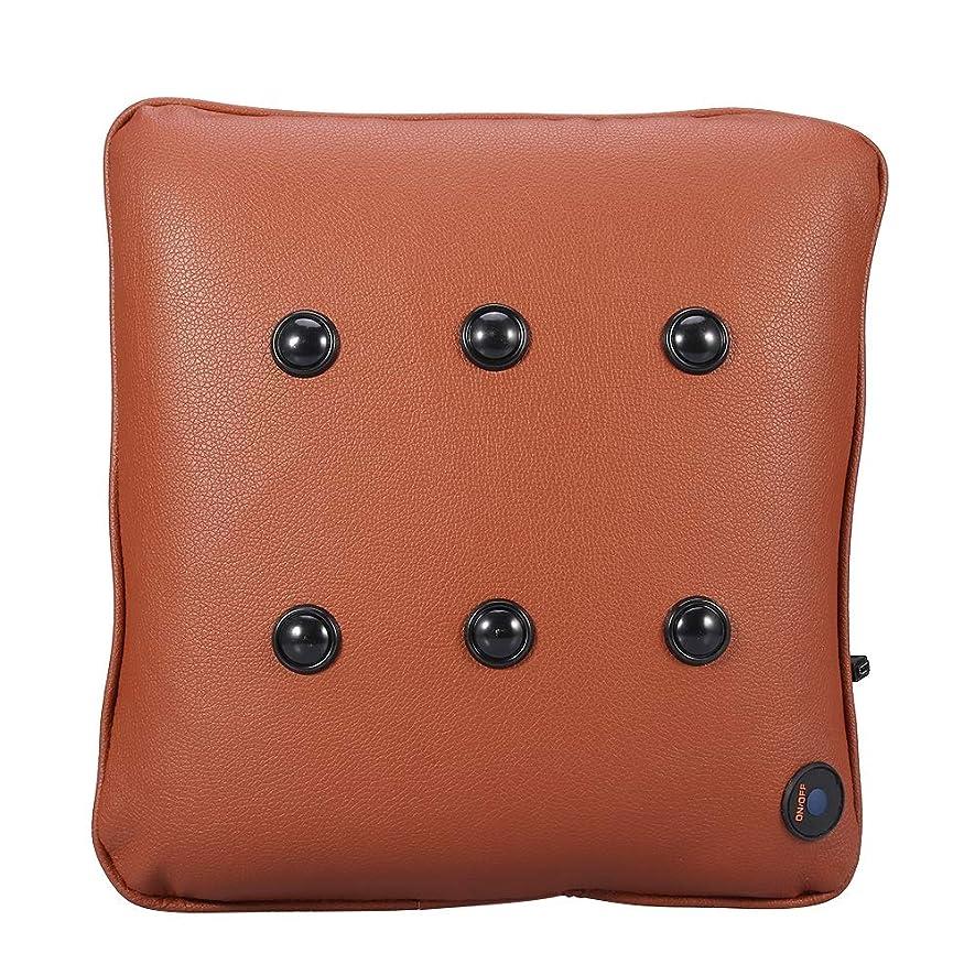 パス生パス4スタイル電動マッサージピローソフトコットンカートラベルUSBネックバックマッサージクッション指圧 - 混練枕(ブラック)(レザーブラウン)