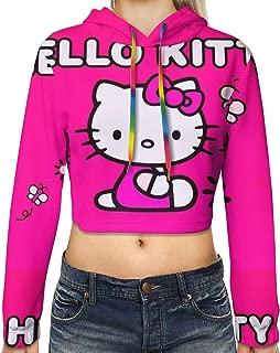 Women's Long Sleeve Hello Kitty Rose Printed Pullove Sweatshirt Crop Top Hoodies