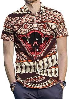 UUGYE Mens Fashion Regular Fit Short Sleeve Cobra 3D Print Plus Size Button Down Blouse Tops