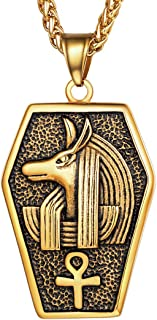 Vintage Egpytian Jewelry Eye of Horus/God Anubis/Pyramid/Pharaoh/Queen/Ankh Cross Pendant Stainless Steel / 18K Gold Plated African Necklace for Men and Women