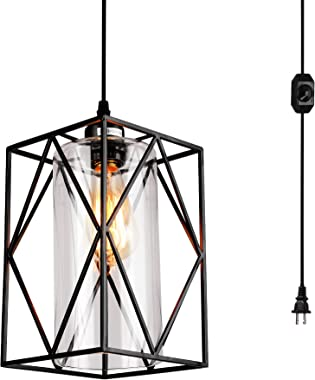 HMVPL plug in pendant light with Dimmer Switch, Farmhouse Hanging Lights Fixtures with 16.4ft Plug in Cord and Glass shade, Industrial Swag Ceiling Lamps for Kitchen Island Table Bedroom Hallway Foyer