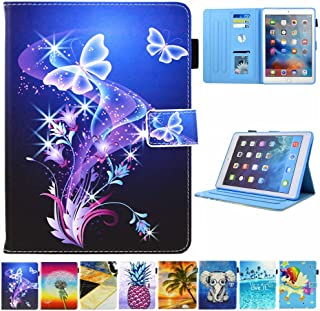 JZCreater Case for iPad Pro 9.7 2016- Kickstand Flip Wallet Case with Auto Sleep/Wake Leatherette Protective Case Cover, Purple Butterfly
