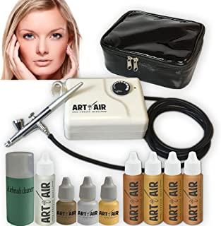 Art of Air MEDIUM Complexion Professional Airbrush Cosmetic Makeup System / 4pc Foundation Set with Blush, Bronzer, Shimme...