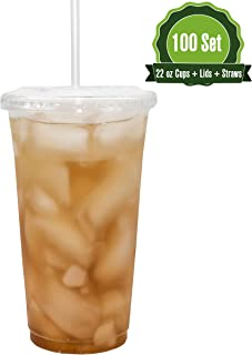 Safeware [22oz-100 Set] Disposable Clear Plastic to go Cups with Flat Lids and Straws | Ice Coffee | Bubble Tea | Smoothie | Cold Beverage | Milkshake | Travel.