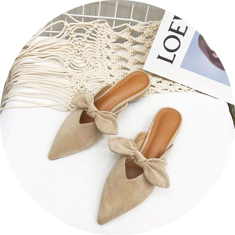Get-in Wooden Heel Slippers Women Mules Pointed Toe Ladies Slides Slippers Mules