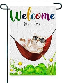 NYNELSONG الكلب الترحيب بالألوان المائية منزل العلم مزدوج الجانب ترحيب ساحة حديقة العلم اللافتات لفناء الحديقة المنزل ديكو...