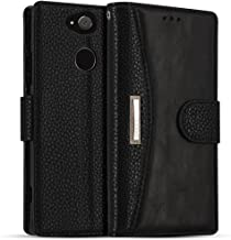 """Leather Wallet Phone Case for Sony Xperia XA2 Ultra, IDOOLS Folding Flip Cases Protective Cover Strong Magnetic Closure Protector with Card Slots Kickstand (Black, 6.0"""")"""