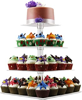 4 Tier Cupcake Holder Stand,Square Clear Acrylic Cupcake Display Riser,Tiered Dessert Stand,Cupcake Tower Stand Plastic,Cupcake Tree Carrier for Wedding Birthday Party