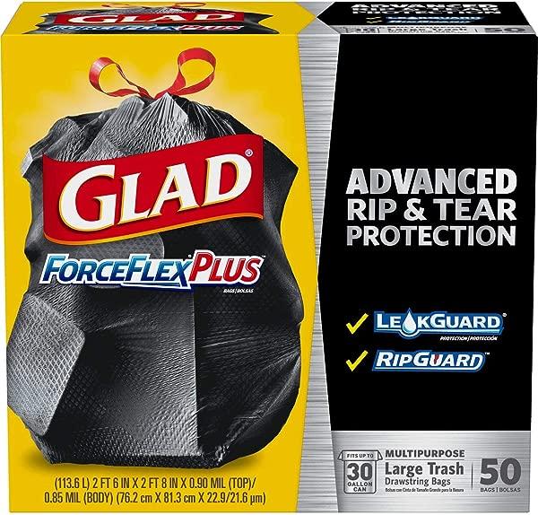 Glad Large Drawstring Trash Bags ForceFlexPlus 30 Gallon Black Trash Bag 50 Count