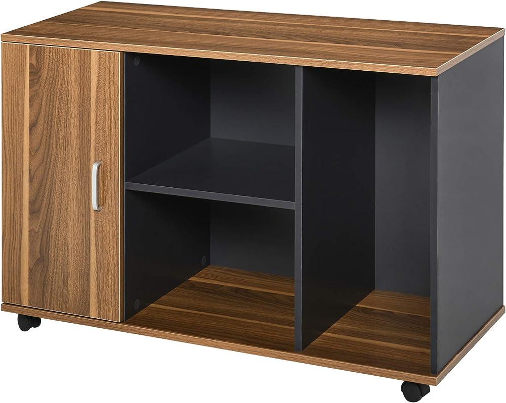 Homcom, mobiletto da ufficio/casa, armadietto portadocumenti con rotelle,in legno IT836-2760631