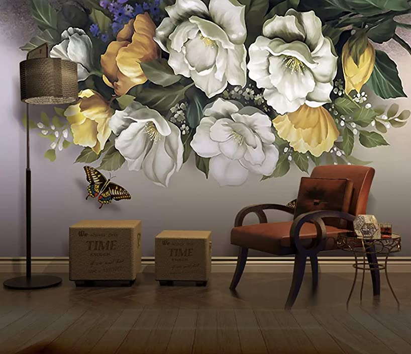 Murwall Dark Floral Wallpaper Flower Wall Mural Vintage Floral Wall Art English Home Decor Living Room Bedroom Retro Cafe Wall Decor
