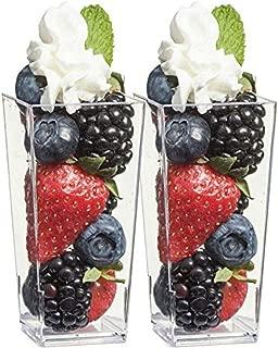 Zappy Tall Square Mini Cube 3oz Clear Plastic Tasting / Sample Shot Glasses Parfait / Souffle Jello Dessert Tumbler Cups 40 Ct Party Mini Dessert Cups