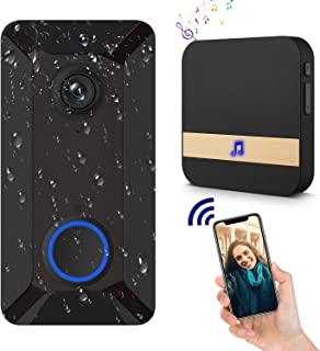 Wireless Video Doorbell Camera with Ring Chime, Clear Picture and Video, IP55 Waterproof, Lifetime Free Cloud Storage, Batteries, Push Notification, Two-Way Talk, Wide Angle, Night Vision