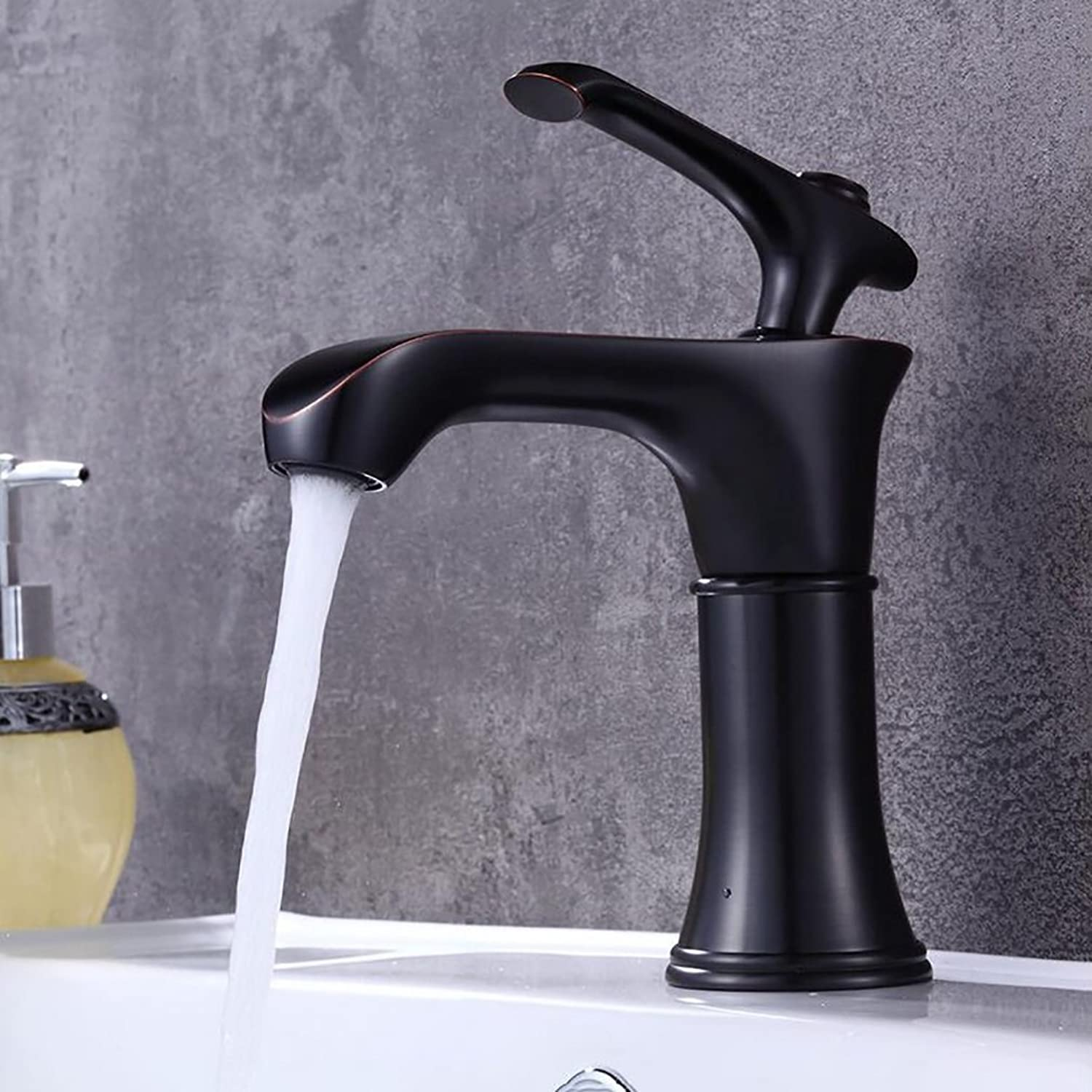 Bathroom accessories, easy to use and user-friendl Bathroom Taps,black Basin Faucet,Hotel Hot And Cold Mixer,Retro Single Hole Creative Tap XIAHE