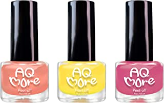 AQMORE Non Toxic Water Based Peel Off Nail Polish – Lasts for Days, GEL Like Shine, Dries in Minutes, Fragrance & Paraben Free, Kid Safe, Great Gift Idea - 0.20 fl oz/Bottle, 3 Colors Set, Ms Grapefruit