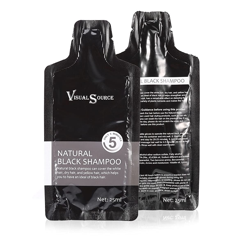 2ピース天然黒髪シャンプー、白髪除去染料ヘアカラーシャンプー付き使い捨て手袋