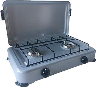 Rechaud gaz portable 2 feux 2350W SILVER 2 Butane/Propane Bruleurs inox Couvercle