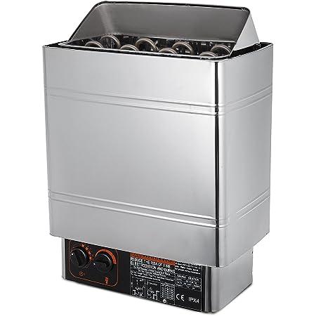 SucceBuy Poêle électrique pour Sauna 8kw/9kw Poêle De Sauna avec Contrôle Thermostatique Intégré Sauna Poêle Électrique 380-415V Sauna Heater (8KW-en Acier Inoxydable)