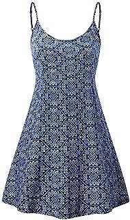 Dubocu Women Dress Sleeveless Cami Off The Shoulder Summer Floral Printed Pattern Tank Top Casual Beach Sundress Short Mini Dress