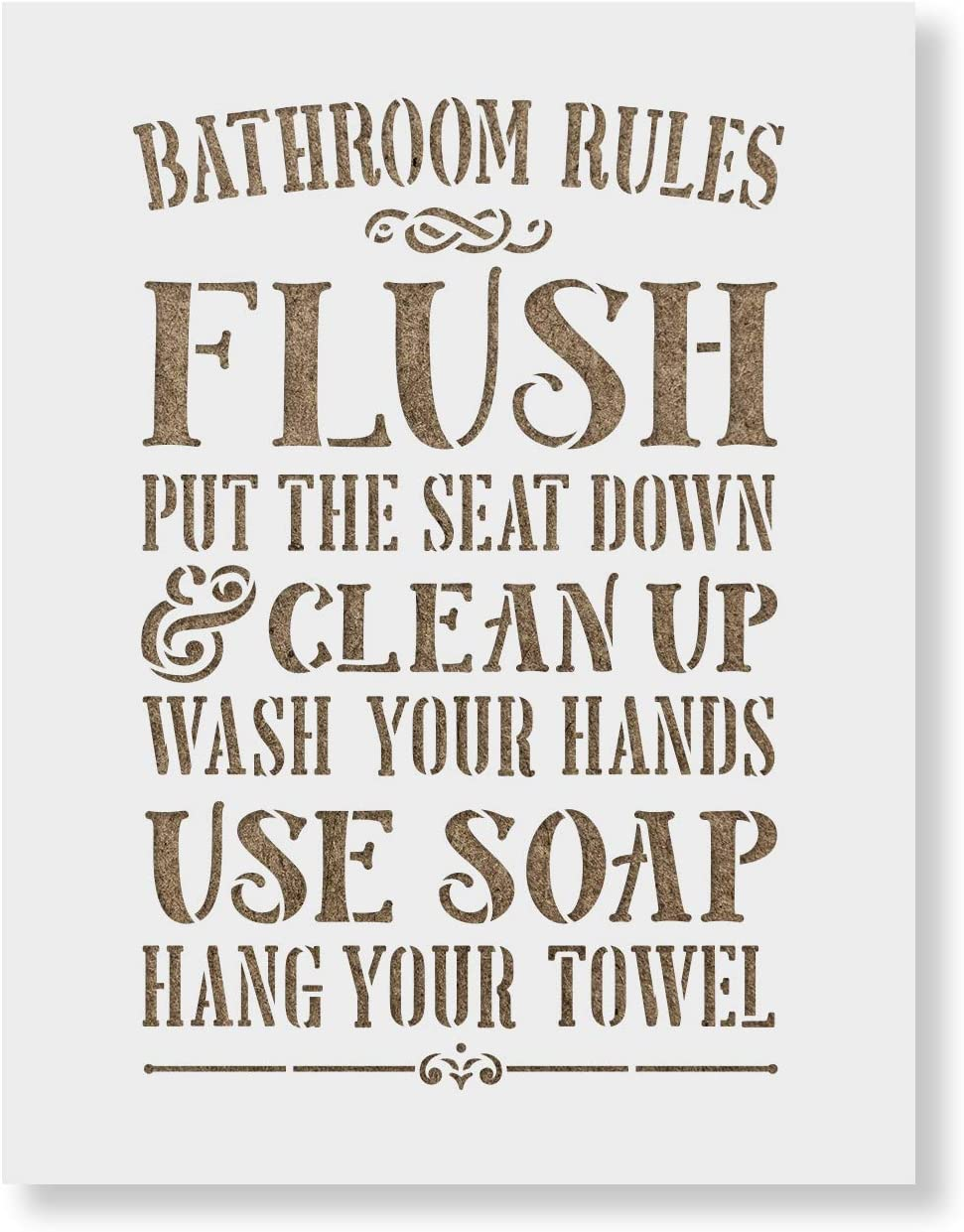 Bathroom Rules Sign Stencil - Cheap super special price Reusable for Max 79% OFF Stencils Pai