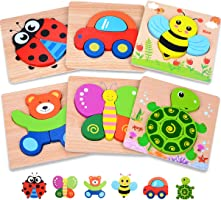 MAGIFIRE Wooden Toddler Puzzles Gifts Toys for 1 2 3 Year Old Boys Girls Baby Infant Kid Learning Educational 6 Animal...