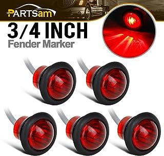 "Partsam 5Pcs 3/4"" Round Led Clearance Side Marker Lights Truck Trailer Lamps Indicators w/Grommet Sealed Waterproof for Pickup Trucks RV Camper Car Bus Van Caravan Boat"