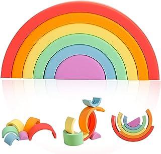 Silicone Rainbow Stacking Toys 6pcs Building Blocks Set Early Matching Educational Montessori Toys Silicone Stacking Toy ,...
