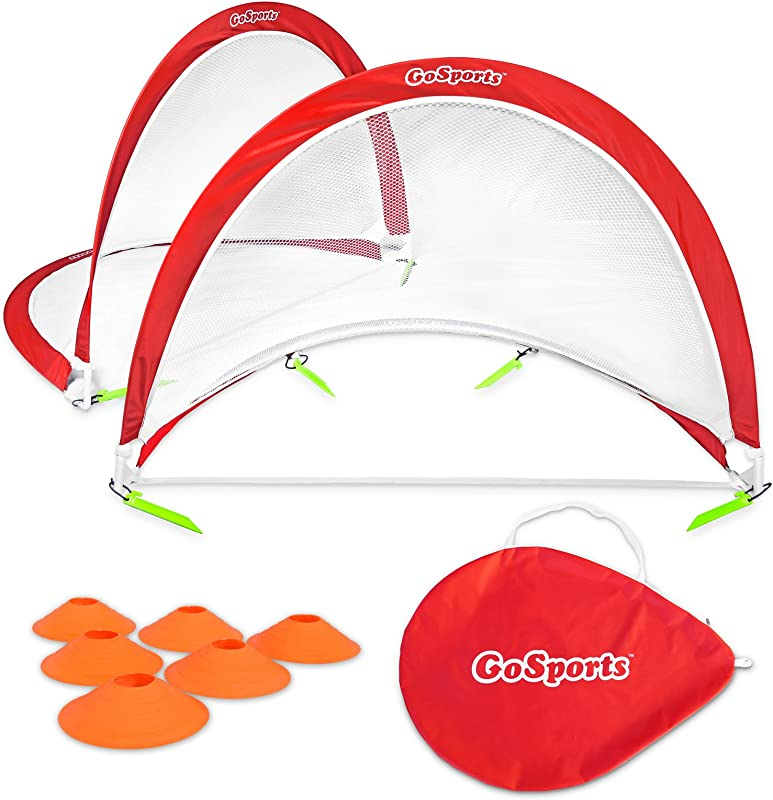 GoSports Foldable Pop Up Soccer Goal Nets Set Of 2 With Agility Training Cones And Portable Carrying Case For Kids Adults Choose From 2 5 4 And 6 Sizes