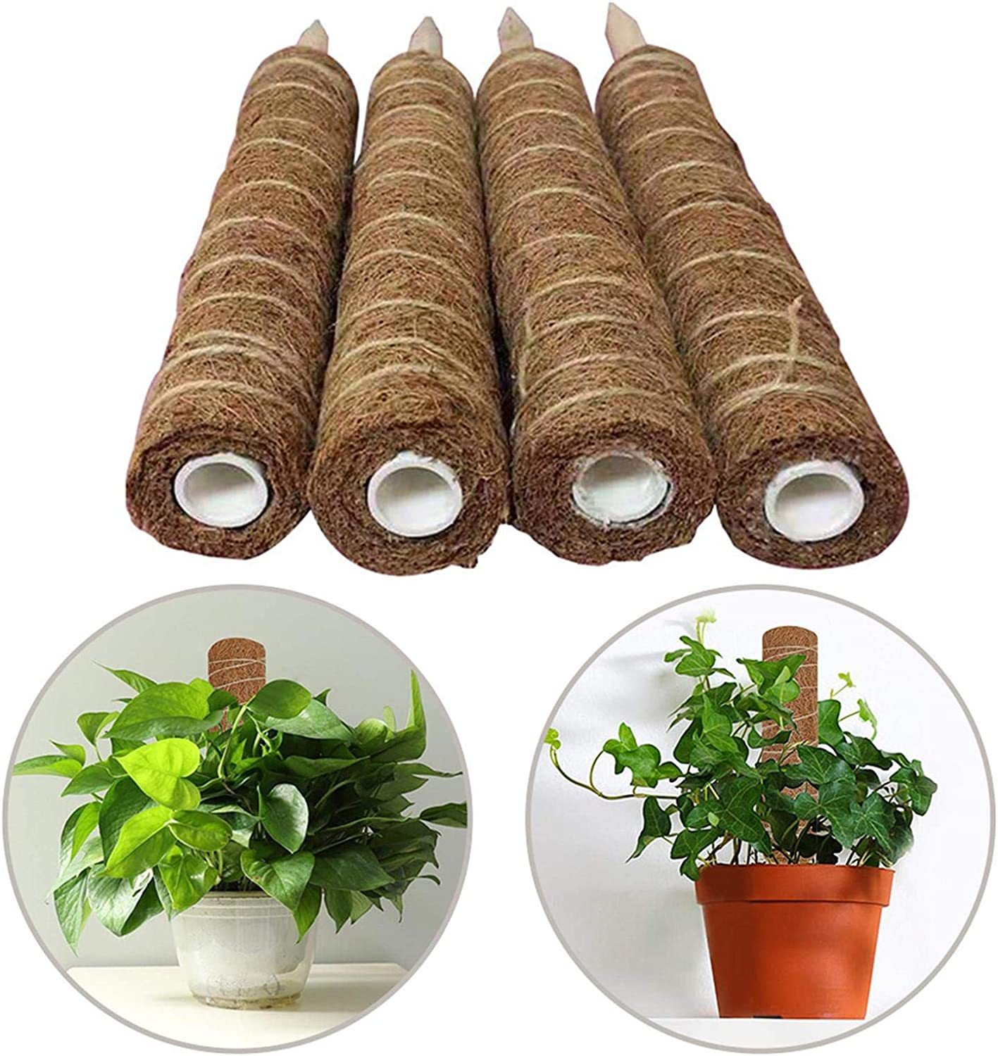 chinejaper Coir Moss Stick Coir Moss Totem Pole 90cm Extendable Coco Coir Fibre Stick Plant Supports Poles For Climbing Indoor Plants Support Creepers Moss-Covered Support Stake