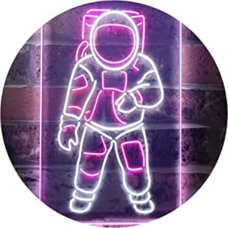 Astronaut for Kid Bedroom Dual Color LED Neon Sign White & Purple 300 x 400mm st6s34-i3359-wp