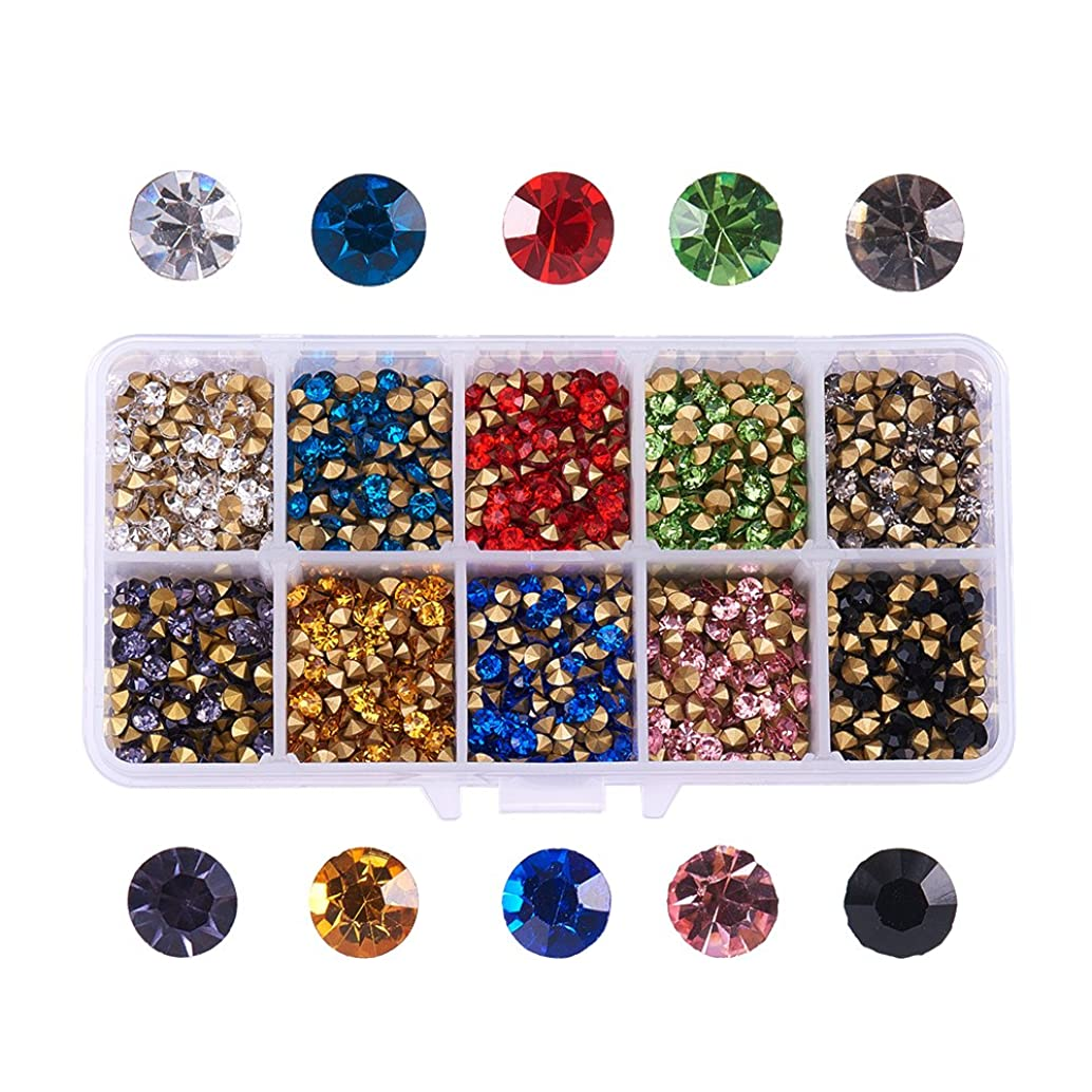 PH PandaHall 1 Box (About 3400) 10 Color Grade A Glass Pointed Back Chaton Rhinestones Jewelry Crystal Gems for Nail Art Decoration Leather Jacket High Heels Shoes Bag Clutches Decor