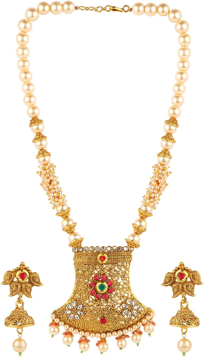 Efulgenz Indian Bollywood Traditional 14 K Gold Plated Crystal Kundan Pearl Beaded Wedding Temple Choker Necklace Earrings Jewelry set