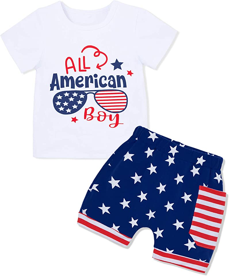 4th of July Baby Boy Outfits, Independence Day Toddler Baby Boy Clothes Summer Sets, Short Sleeve + Short Pants 2Pcs Set