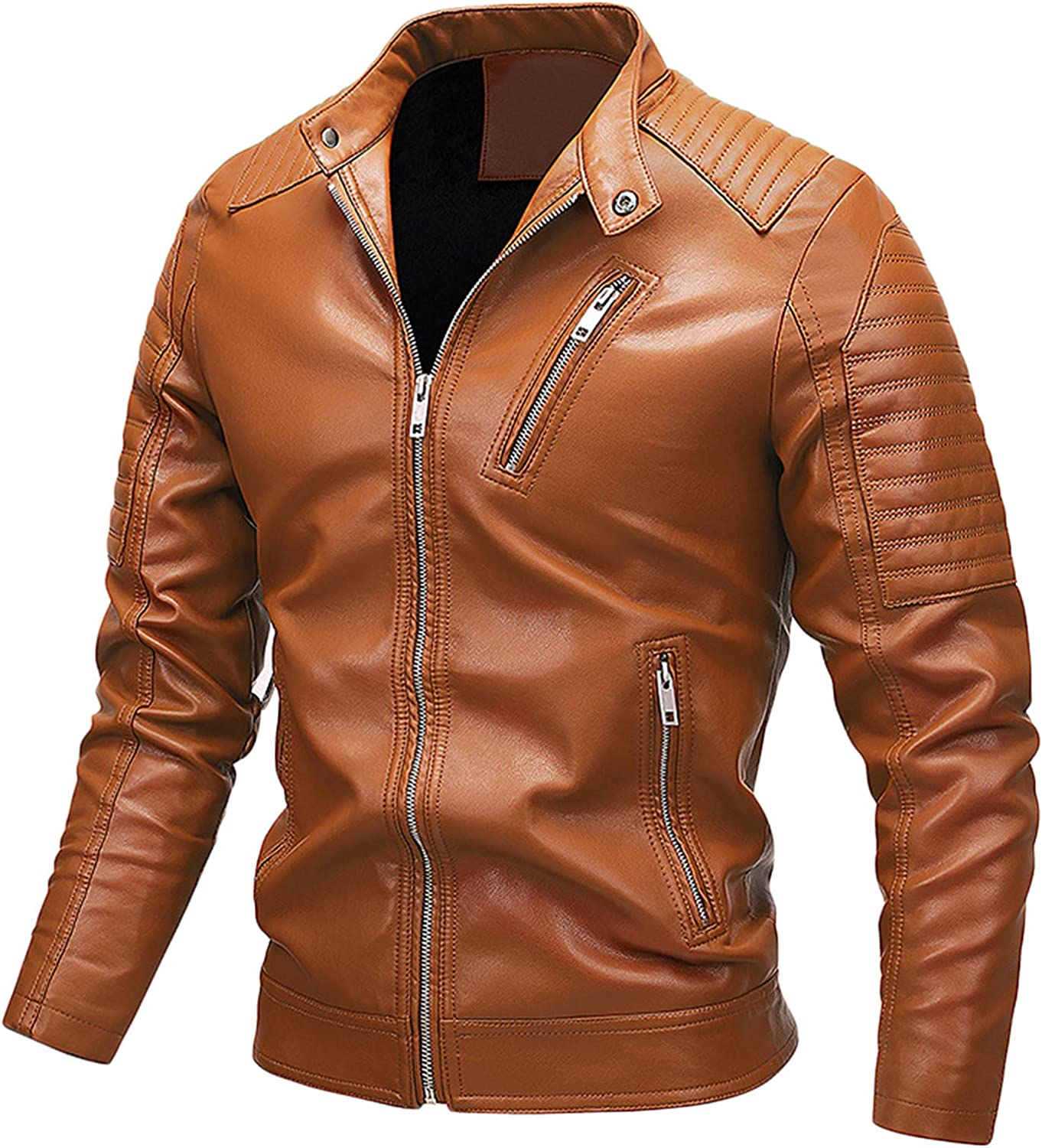 Mens Motorcycle Jacket,Men's Autumn And Winter Leisure Cashmere Zipper Stand Collar Pocket Leather Coat Jacket Jacket
