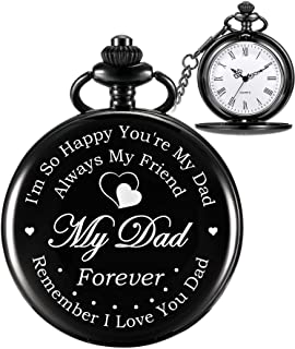 Hicarer Pocket Watch Engraved Gifts for Dad Father with Gift Box, Christmas Birthday Fathers Day Gift from Daughter Son Kid (White)