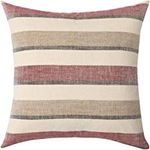 MIULEE Decorative Classic Retro Stripe Throw Pillow Covers Cotton Linen Modern Farmhouse Pillow Case Red and Brown Cushion Case for Sofa Bedroom Car 24 x 24 Inch 60 x 60 cm