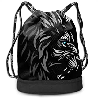 Cool Tribal Lion Drawstring Backpack Water Resistant String Bags Lightweight Custom Fitness Bag Suitable For Adults Youth ...