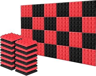 AGPtEK Akustiska skumplattor, 24 paket ljudisolerade studioskum 25 x 25 x 5 cm röd och svart pyramid akustiska paneler hem...