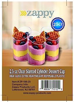 Zappy Elegant Clear Slanted Cylinder Mini Dessert Appetizer Cup 2.5 oz Plastic Tasting/Sample Shot Glasses Parfait Gl...