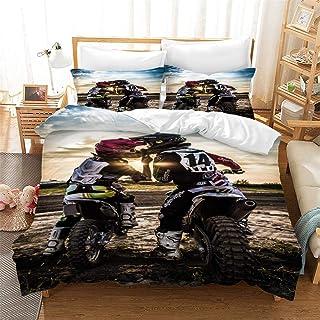 Ste-X Juego De Cama Motocross Funda Nórdica Multicolor Fundas De Almohada Tela Cepillada Ropa De Cama Colcha Juego De Cama ((180x220 cm)-Cama de 105/135,Patrón 02)