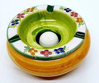 Posacenere Antivento Realizzato e dipinto a mano Le Ceramiche del Castello Idea Bomboniera dimensioni 13 L x 6 H centimetri